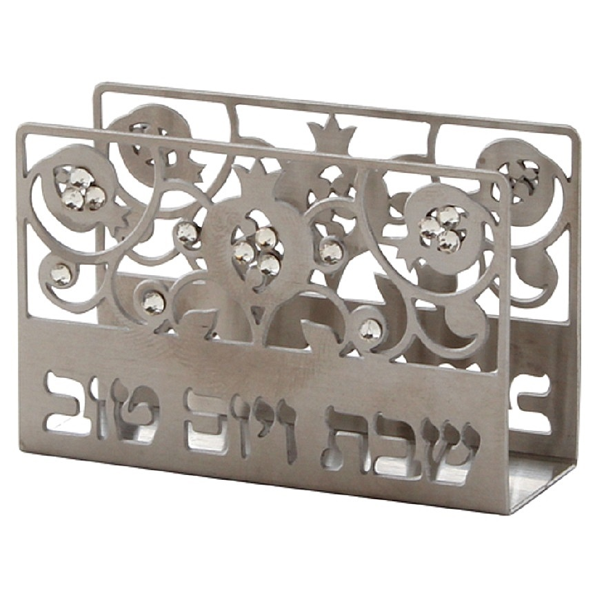 Judaica Shabbat Holiday Match Box Holder Laser Cut Pomegranate Stones w Matchbox