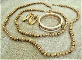 Napier Gold + Tan Bead Necklaces + Clip On Earrings + Bangle Bracelet Set SIGNED - $62.99