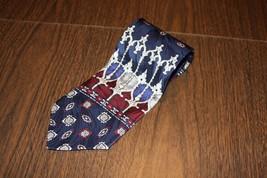 Men Men's Neck Tie Hill & Archer Burgundy Nany Blue Silk Made in USA - $4.99