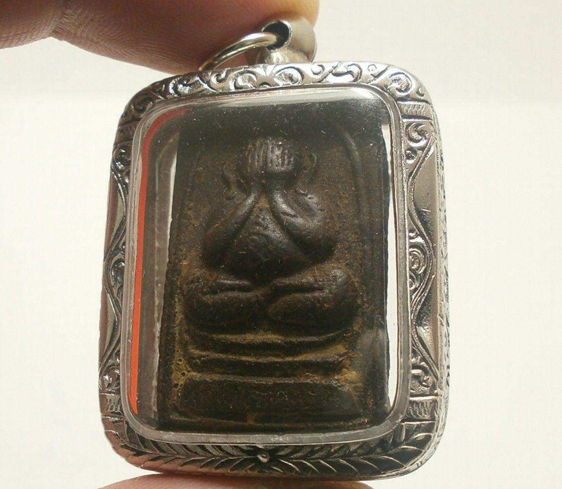 LP TIM PIDTA CLOSE EYES BUDDHA YANTRA THAI STRONG LIFE PROTECTION AMULET PENDANT image 3