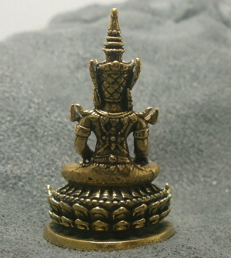 LORD BUDDHA THAI MINI AMULET BEAUTIFUL TINY BRASS STATUE LUCKY HAPPY WEALTH LIFE image 4