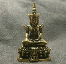 LORD BUDDHA THAI MINI AMULET BEAUTIFUL TINY BRASS STATUE LUCKY HAPPY WEALTH LIFE image 1
