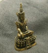 LORD BUDDHA THAI MINI AMULET BEAUTIFUL TINY BRASS STATUE LUCKY HAPPY WEALTH LIFE image 2