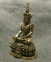 LORD BUDDHA THAI MINI AMULET BEAUTIFUL TINY BRASS STATUE LUCKY HAPPY WEALTH LIFE image 3