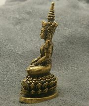 LORD BUDDHA THAI MINI AMULET BEAUTIFUL TINY BRASS STATUE LUCKY HAPPY WEALTH LIFE image 5
