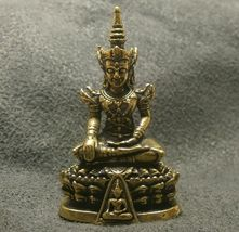 LORD BUDDHA THAI MINI AMULET BEAUTIFUL TINY BRASS STATUE LUCKY HAPPY WEALTH LIFE image 6