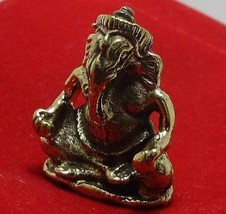 GANESHA LORD OF SUCCESS HINDU GOD THAI MINI BRASS AMULET REMOVE OBSTACLES GIFT image 6