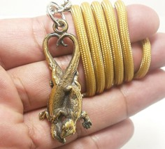 THAI AMULET LOVE SEX APPEAL DUO GECKO PENDANT ATTRACTION NECKLACE THAILAND GIFT image 1