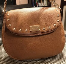 $348 NWT MICHAEL KORS BEDFORD STUD ACORN LEATHER SHOULDER MEDIUM BAG - $189.99