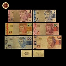 WR Color Gold Brazil Banknote Set 2 5 10 20 50 100 Reals Polymer Note Co... - $19.95