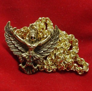 GARUDA MAGIC EAGLE BIRD AMULET LIFE GUARD PENDANT & 24 INCH GOLD PLATED NECKLACE