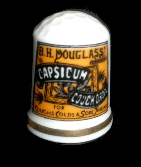 1980 Capsicun Cough Drops Porcelain Thimble