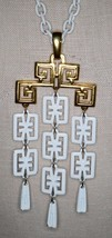 Vintage CROWN TRIFARI Modern White Enamel Dangle Waterfall Pendant Necklace - $74.25