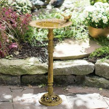 Carved Sunflower Bird Antiqued Yellow Cast Iron Birdbath Outdoor Garden ... - $98.48