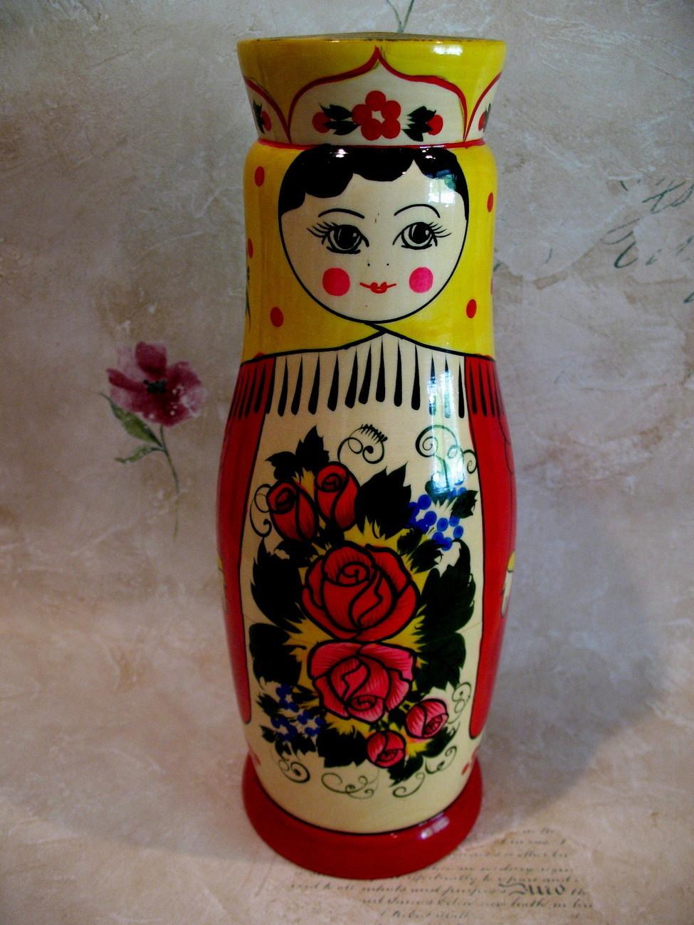 Vintage RUSSIAN Matryoshka Doll Vodka Holder Souvenir Russia WOODEN Matrooshka