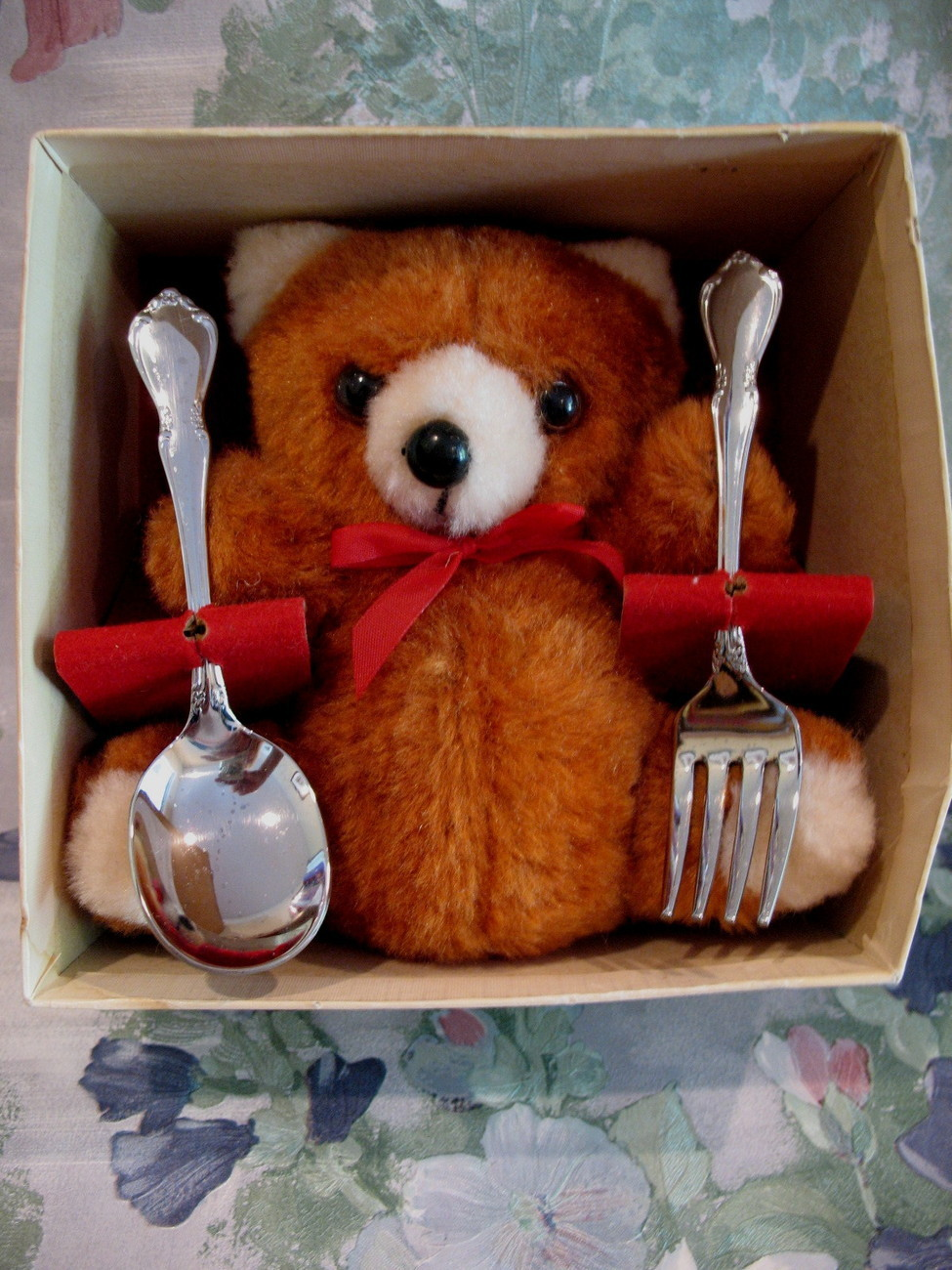 Teddy Bear Baby Baby's First Feeding Souvenir Spoon Fork