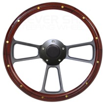 Ford Mustang, Steering Wheel Real Mahogany Wood, Black Billet, Horn - $139.99