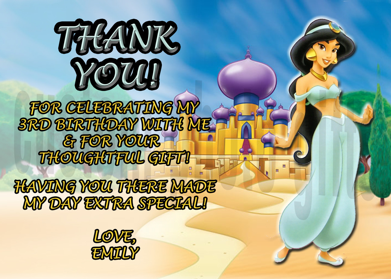 Princess Jasmine Thank You Card