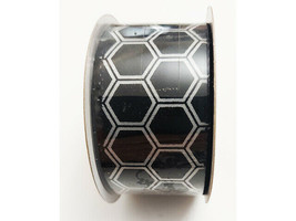 """Craft Smart Wired Black & White Hexagon Shapes Ribbon, 1.5"""" x 3 Yards"""