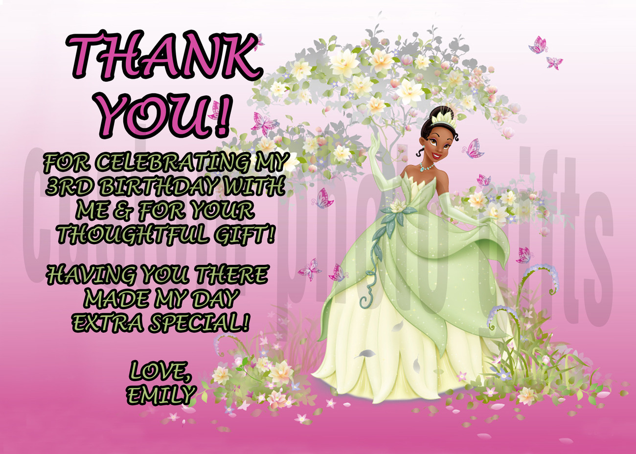 Princess Tiana Thank You Card