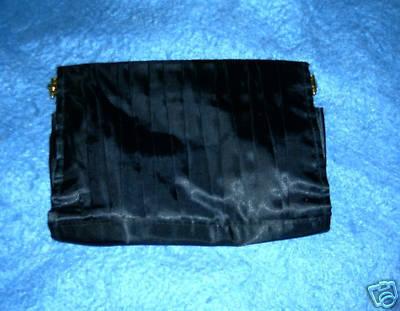 Black Pleated Evening Satin Shoulder or Clutch Purse Bonanza