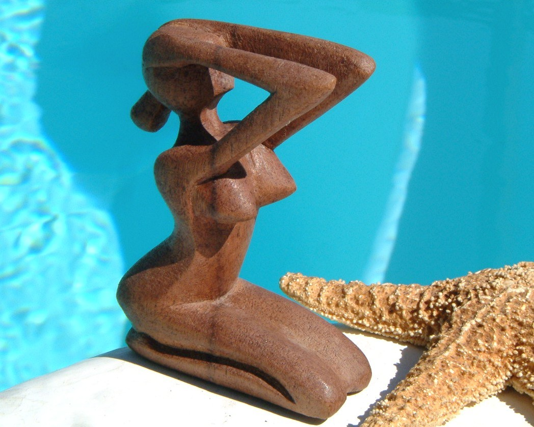 Nude figurines woman carved wood sculpture