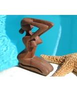 Nude figurines woman carved wood sculpture thumbtall