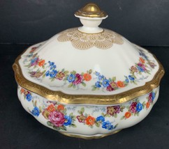 "Rare Antique Porcelain Rosenthal Chippendale 6.5"" Covered Bowl Gelt GERMANY - $34.64"