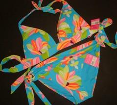 Victoria's Secret BIKINI M BLUE yellow pink green orange floral BEACH SEXY - $59.99