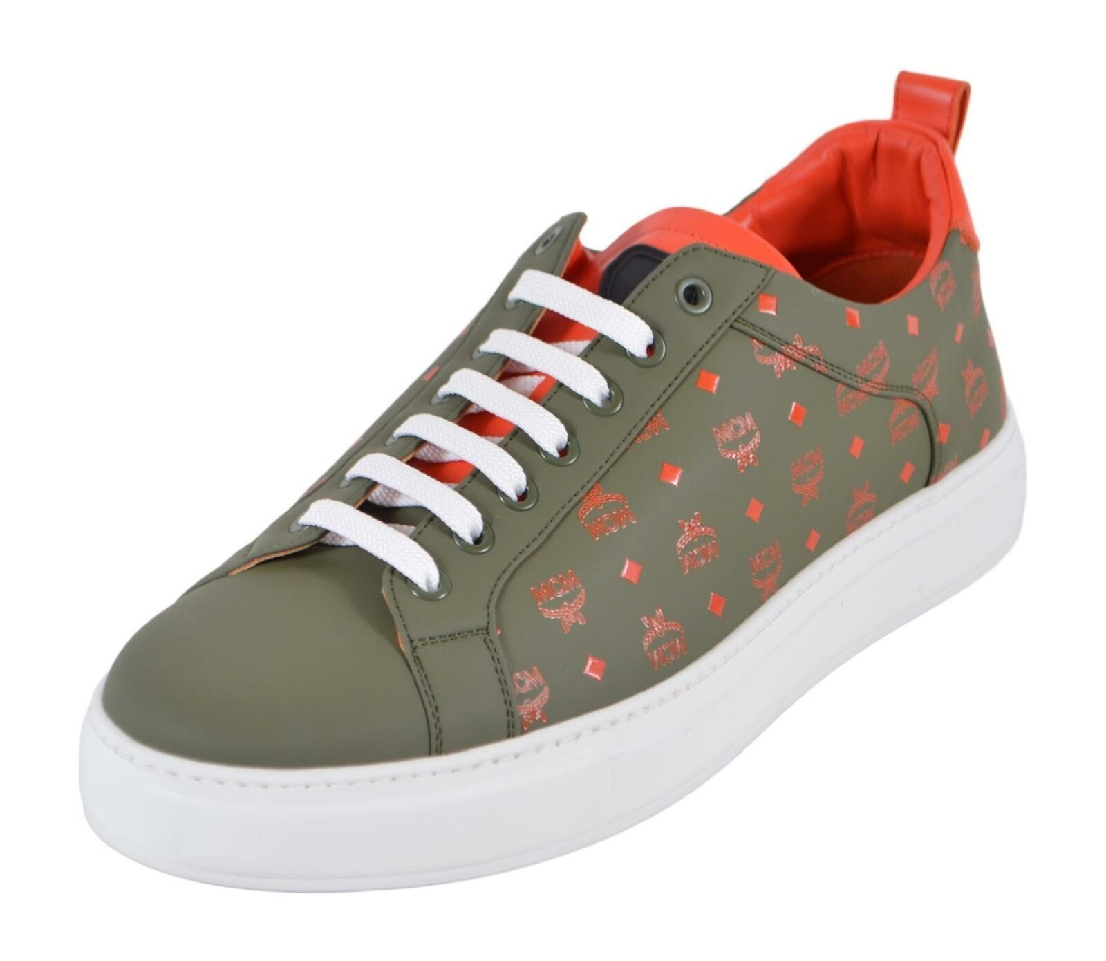 Primary image for New MCM Men's Winter Moss Leather Visetos Pattern Low Top Sneakers Shoes 44 11
