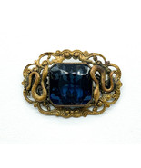 Antique Victorian Iolite Colored Paste Rhinestone Snake Motif Pin Brooch - $107.99