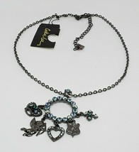 NEW Cookie Lee Blue Genuine Crystal Silver Tone Charms Pendant Necklace NWT - $14.89