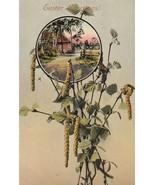 Vintage Postcard Easter Cottage Path Catkins Leaves UNUSED Gel Card - $7.91