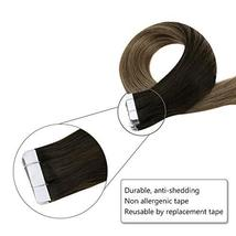 Easyouth 14inch Adhesive Tape in Hair Extensions Balayage Color 2 Dark Brown Fad image 5
