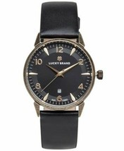 Lucky Brand Women's Torrey Black Leather Strap Gold Tone Ladies Watch 34mm NEW - $47.49