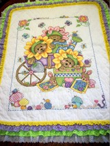 "Hand Quilted XStitched ""BABY'S GARDEN""  Baby Quilt Crib Blanket add baby... - $179.99"
