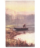 Tucks fishing Oilette antique postcard original pretty lake vintage  - $7.00