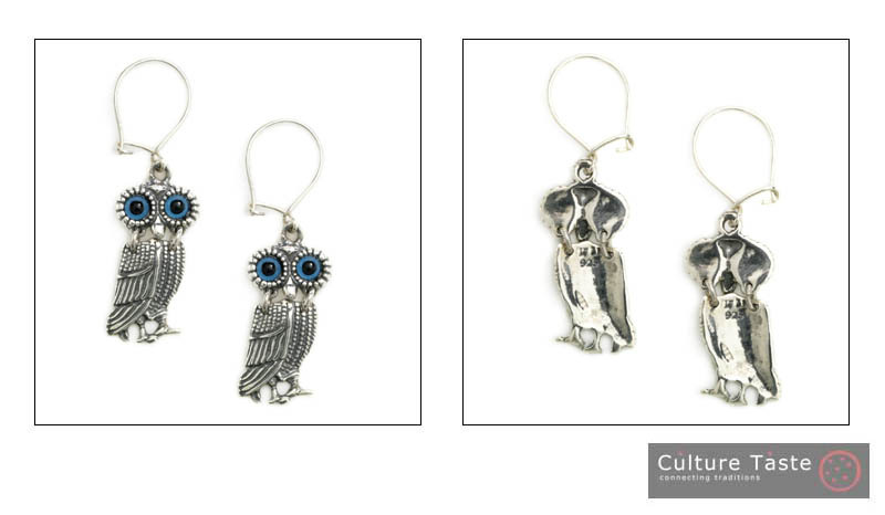 Goddess Athena's Wise Little Owl  - Sterling Silver Earrings with Hooks - A