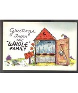 Outhouse comic postcard vintage whole family 1961 - $4.50