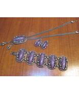Vintage Jewelry Necklace, Earring & Bracelet Purple - $80.00