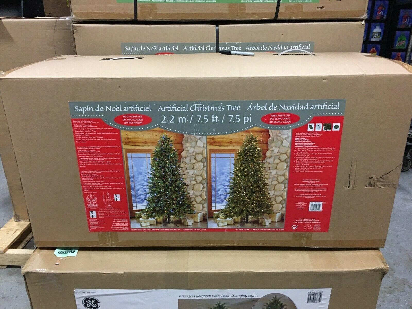 7.5′ Pre-Lit LED Artificial Christmas Tree Surebright Dual Color EZ Connect NIOB