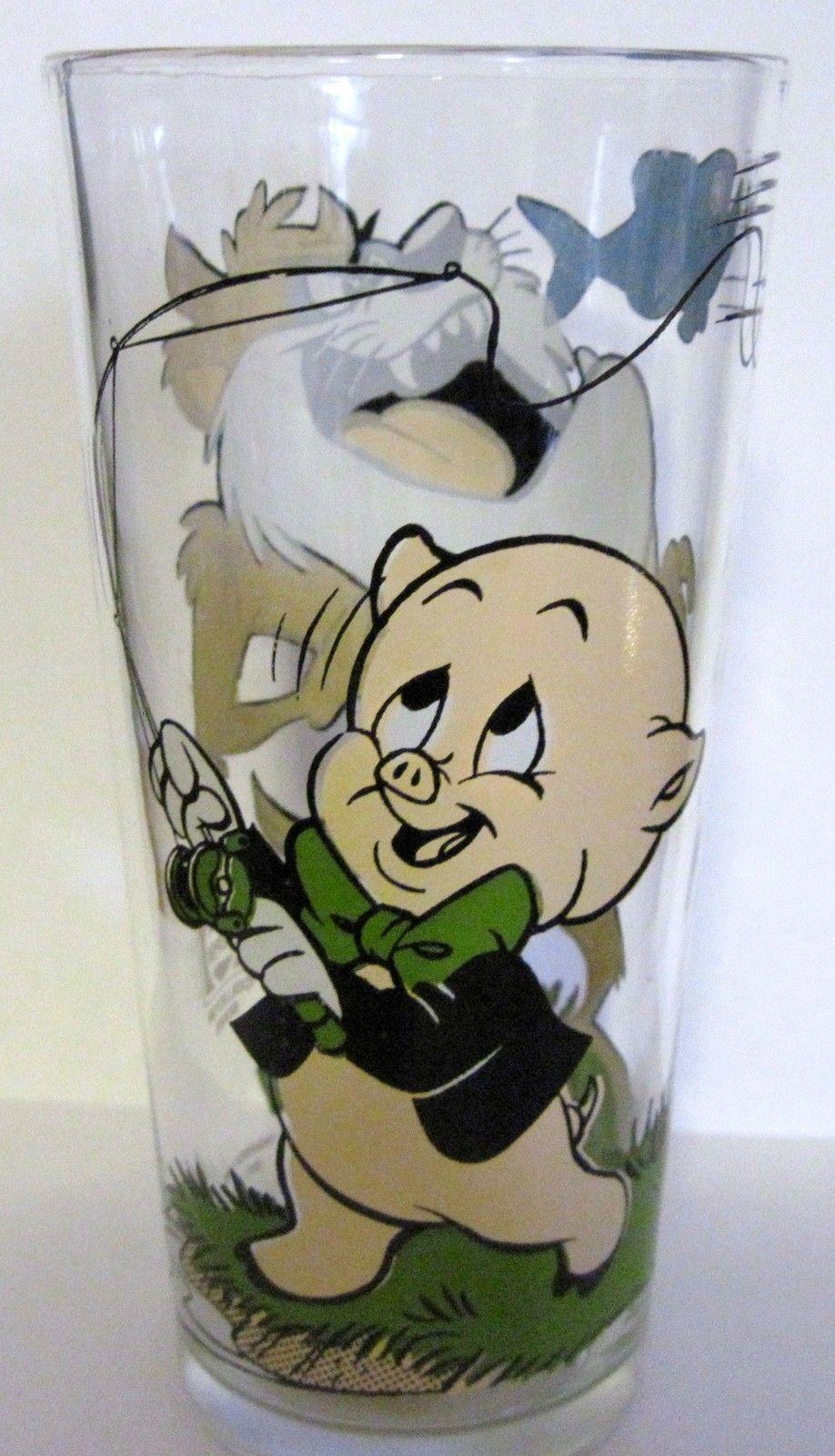 1976 PORKY PIG & TASMANIAN TAZ PEPSI COLLECTOR SERIES INTERACTION GLASS WARNER image 2