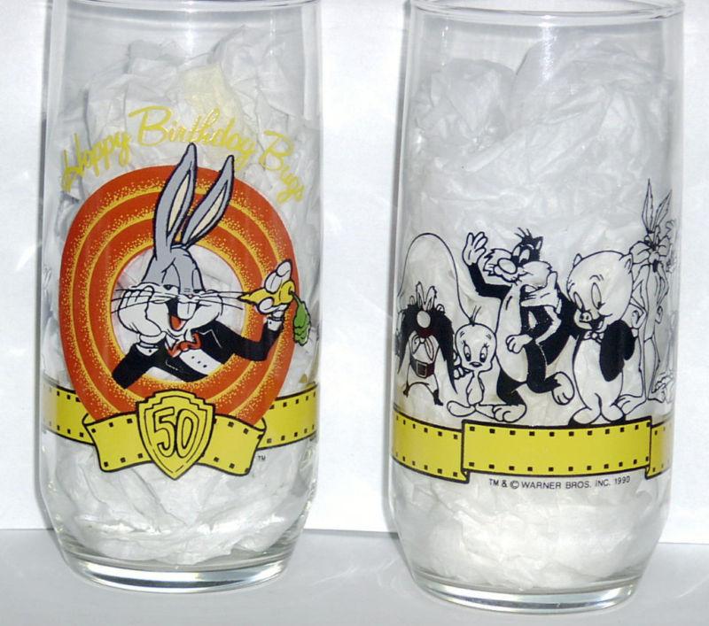 HAPPY 50TH BIRTHDAY BUGS BUNNY Cartoon Character GLASS Tumbler Warner Br 1990 WB