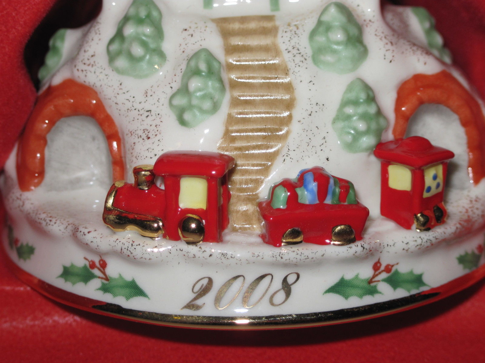 NIB LENOX 2008 Annual Holiday Ride Christmas Ornament Train Station Depot Train image 3