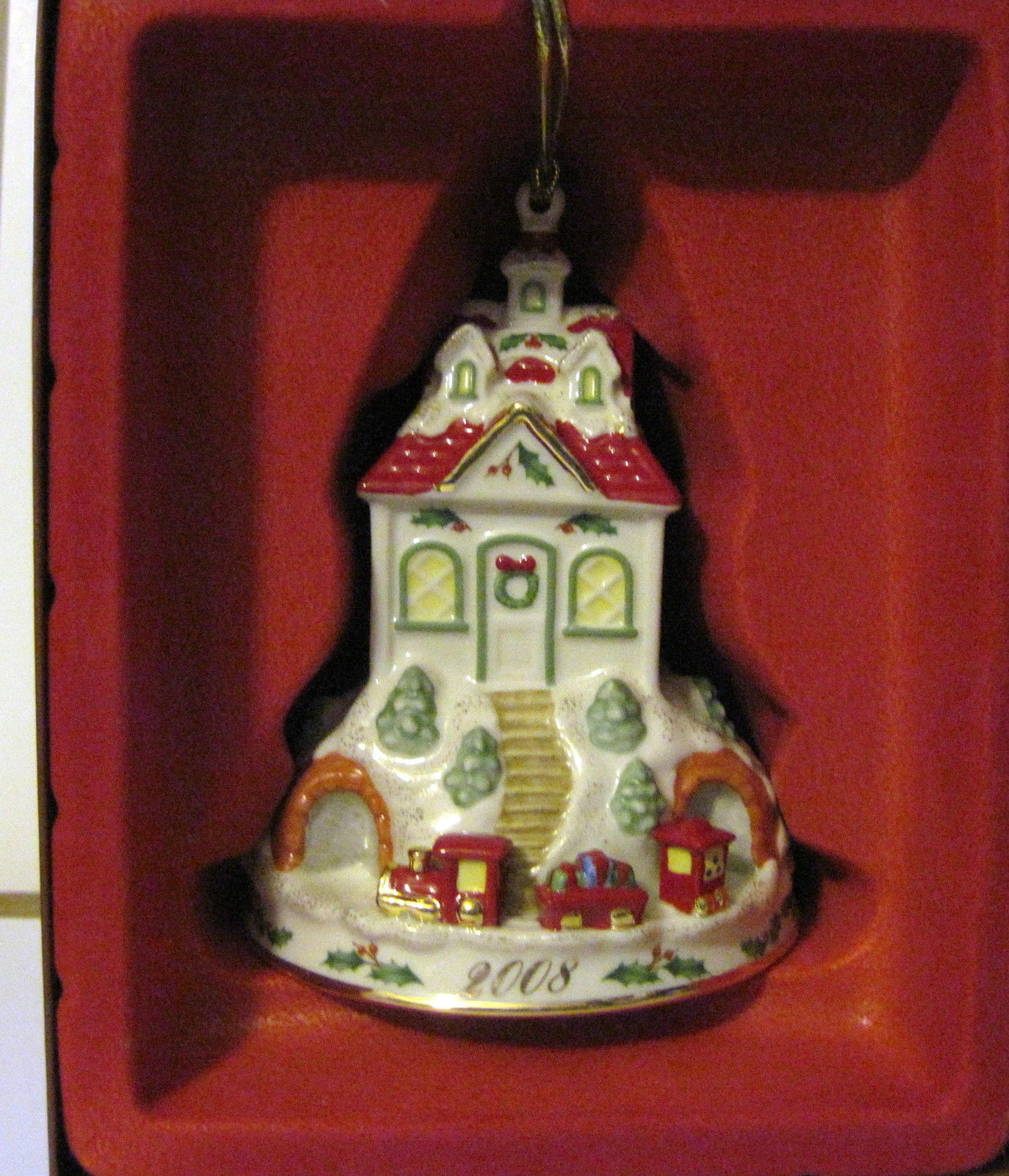 NIB LENOX 2008 Annual Holiday Ride Christmas Ornament Train Station Depot Train image 2