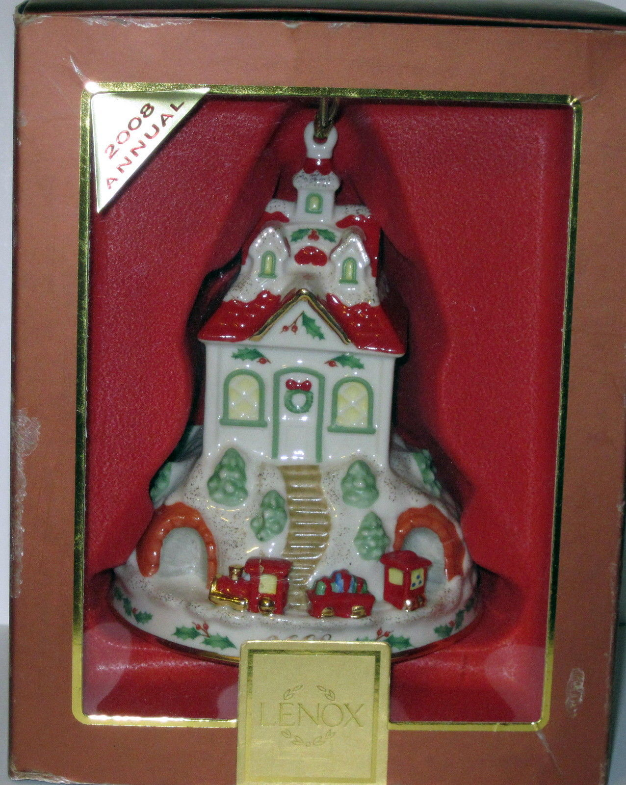 NIB LENOX 2008 Annual Holiday Ride Christmas Ornament Train Station Depot Train