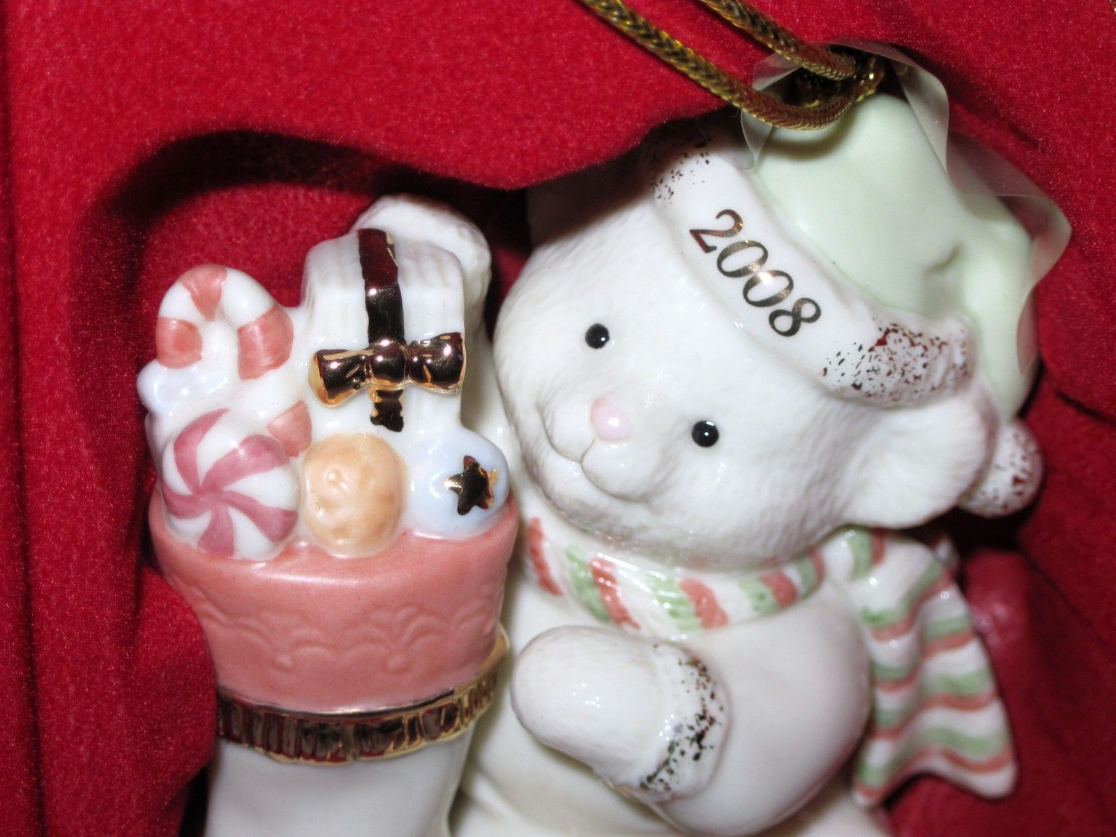 NIB Lenox 2008 Annual Teddy's Special Stocking  Christmas Ornament Bear fine chi image 2