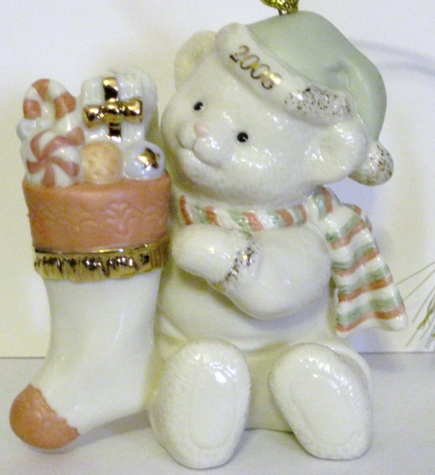 NIB Lenox 2008 Annual Teddy's Special Stocking  Christmas Ornament Bear fine chi image 3