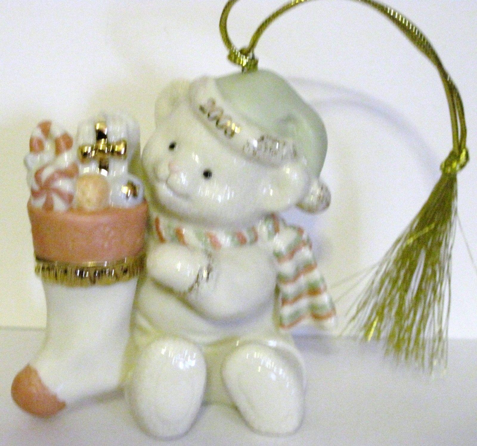 NIB Lenox 2008 Annual Teddy's Special Stocking  Christmas Ornament Bear fine chi image 4
