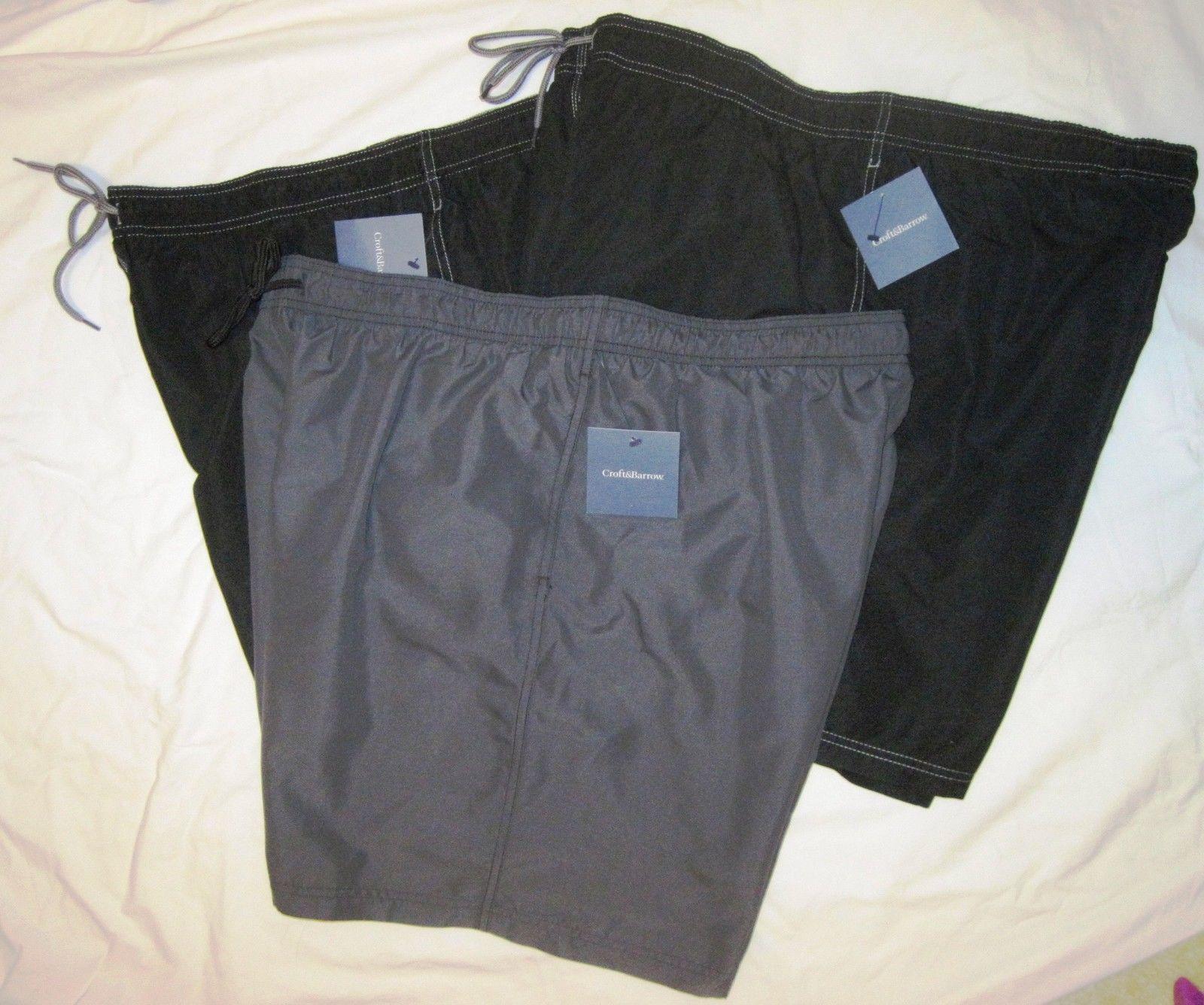 NWT CROFT & BARROW Swim Bathing Suit Trunks Mens XXL black or gray solid Poly